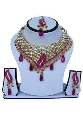 Pink N White Zircon Stone Necklace Set