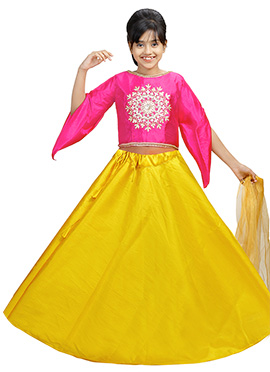 Pink N Yellow Art Silk Kids A Line Lehenga