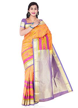 Pink N Yellow Art Silk Saree