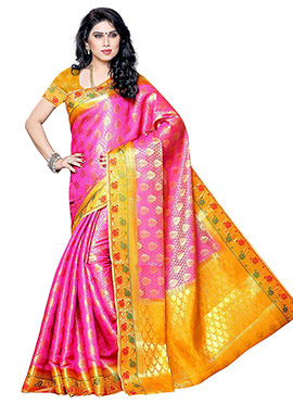 Pink N Yellow Art Silk Saree