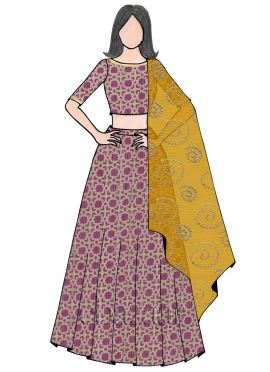 Pink N Yellow Boat Neck Umbrella Lehenga Set