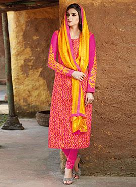 Pink N Yellow Churidar Suit
