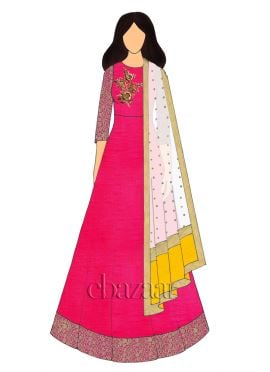 Pink N Yellow Embroidered Anarkali Suit
