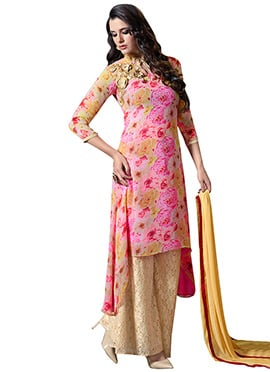 Pink N Yellow Georgette Net Palazzo Suit