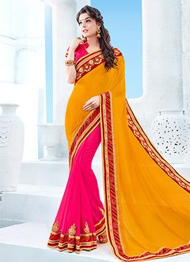 Pink N Yellow Half N Half Saree