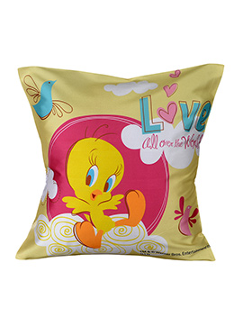 Pink N Yellow Warner Brother Tweety Cushion Cover