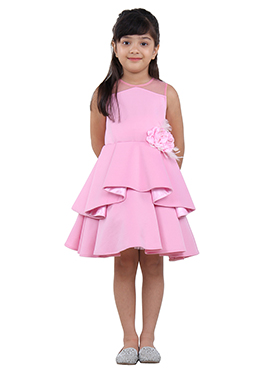 Pink Neoprene Net Kids Dress