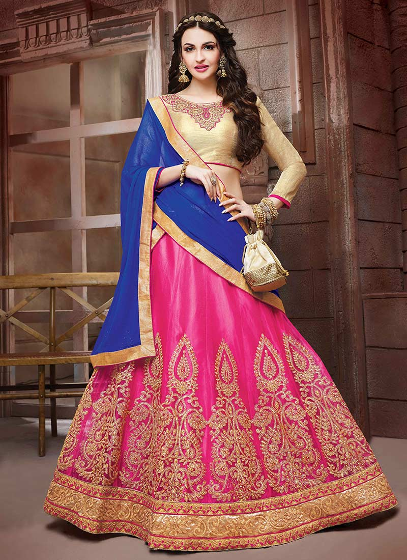 Pink Net Saree: Buy Pink Net A Line Lehenga, Stones , Embroidered, A Line