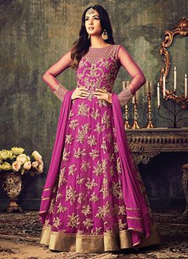 Pink Net A-line Anarkali Suit