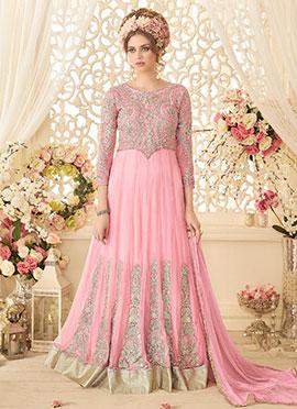 Pink Net Abaya Style Anarkali Suit