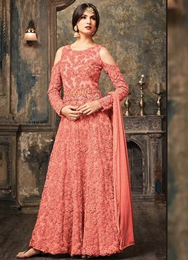 Pink Net Cold Shoulder Abaya Style Anarkali Suit