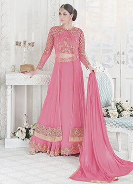 Pink Net Georgette Umbrella Lehenga
