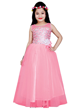 Pink Net Kids Anarkali Gown