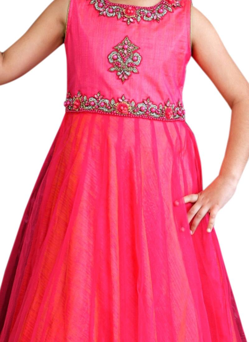 Pink Net Saree: Buy Pink Net Kids Anarkali Gown, Girls-gown Online