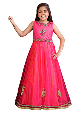 Pink Net Kids Anarkali Gown