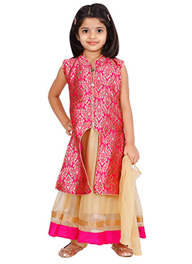 Pink Net Kids Anarkali Suit
