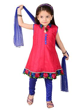 Pink Net Kids Anarkali Suit