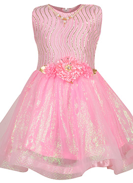 Pink Net Kids Dress