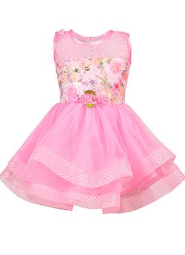 Pink Net Kids Dress