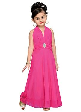 Pink Net Kids Gown