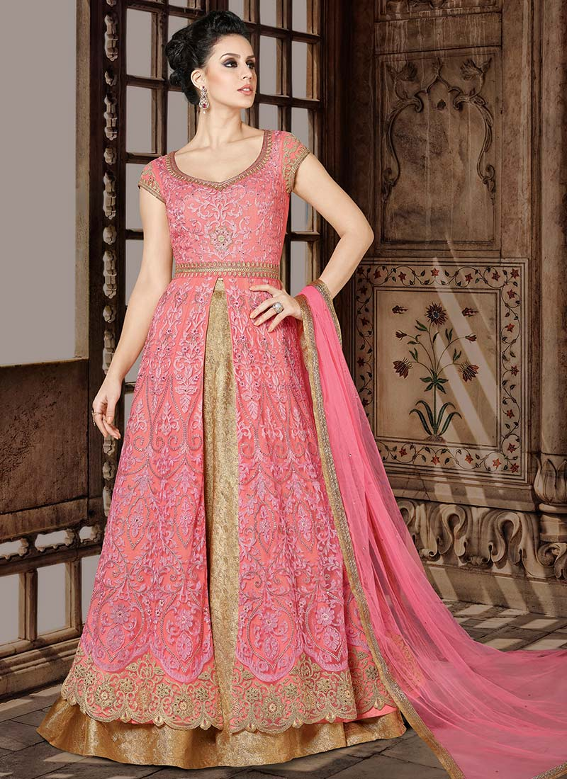 Buy Pink Net Long Choli A Line Lehenga Embroidered A