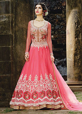 Pink Net Long Choli Anarkali Lehenga