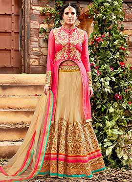 Pink Net Long Choli Umbrella Lehenga