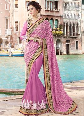 Pink Net N Brasso Half N Half Saree
