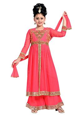 Pink Net N Satin Teens Palazzo Suit