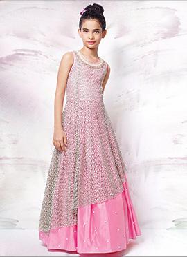 Pink Net Teens Gown
