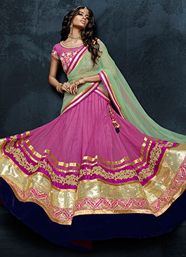 Pink Net Umbrella Lehenga Choli