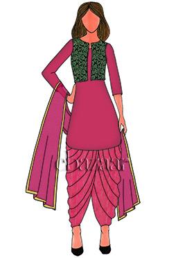 Pink NGreen Brocade Patiala Suit