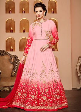 Pink Ombre Abaya Style Anarkali Suit