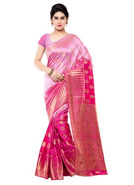 Pink Ombre Art Raw Silk