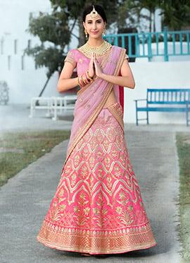 Pink Ombre Art Silk A Line Lehenga