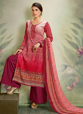 Pink Ombre Cotton Palazzo Suit