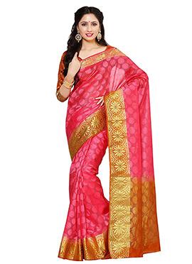 Pink Orgenza Silk Saree