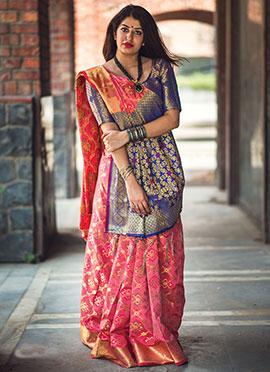 Pink Patola Silk Saree