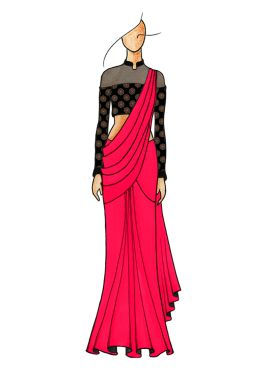 Pink Plain Saree with Gorgeous Half N Half Closed Neck Blouse