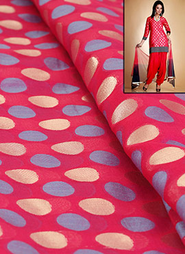 Pink Polka Dotted Chanderi Silk Dress Material