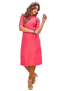 Pink Poly Cotton Knee Length Kurti