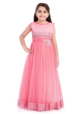 Pink Polyester Net Girls Gown