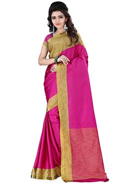 Pink Polyester Saree