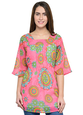 Pink Polyester Tunic Top