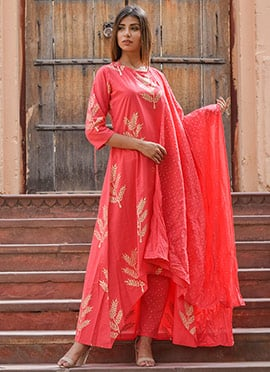 Pink Printed Anarkali Suit