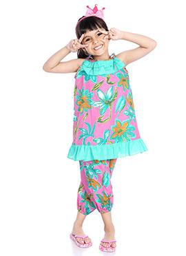 Pink Printed Kids Dress