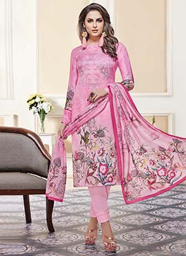 Pink Printed Straight Pant Suit