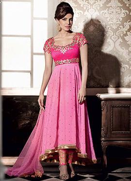 Pink Priyanka Chopra Straight Pant Suit