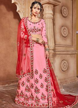 Pink Pure Benarasi Silk A Line Lehenga
