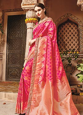 Pink Pure Benarasi Silk Saree